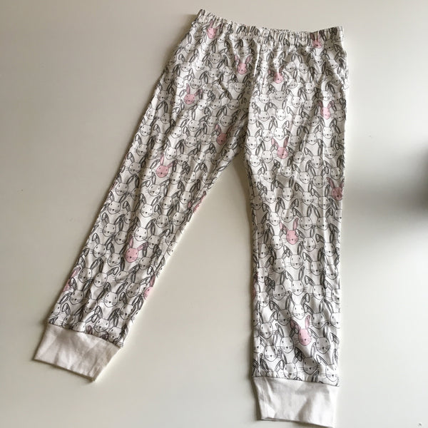 F&F Girls White/Pink Bunny Print Pyjama Bottoms - Girls 6-7yrs