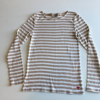 Next Girls Tan/Cream Striped L/S Top - Girls 10yrs
