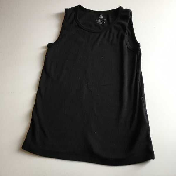 H&M Basic Organic Cotton Black Sleeveless Vest - Girls 6-8yrs