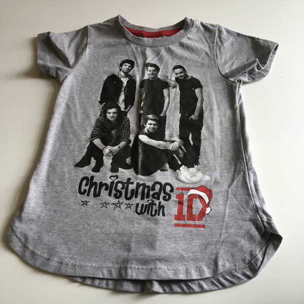 Tu Girls Christmas with One Direction Grey T-Shirt - Girls 6yrs