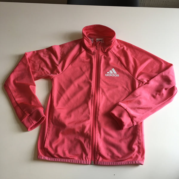 Adidas Girls Pink Zip Up Tracksuit - Girls 9-10yrs