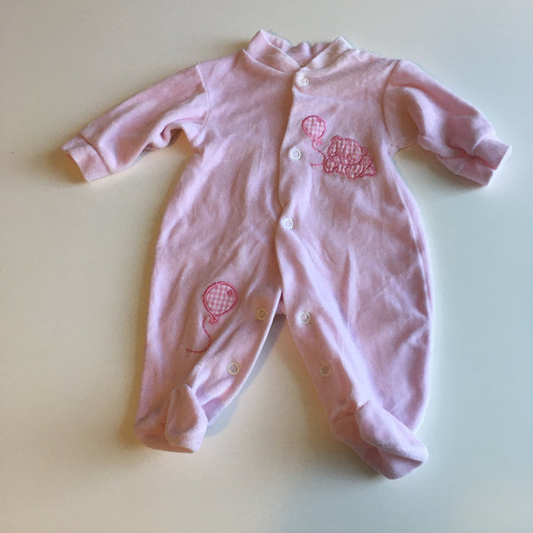 Pink velour Sleepsuit with Teddy and Balloons - Girls Tiny Baby