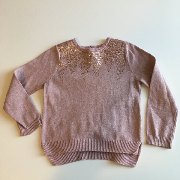 Beautiful Rose Gold Girls Party Jumper with Sequins - Girls 2-3yrs