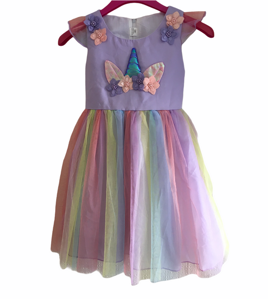 Rainbow Unicorn Girls Fancy Dress Tutu Skirt Dress - Girls 8-9yrs