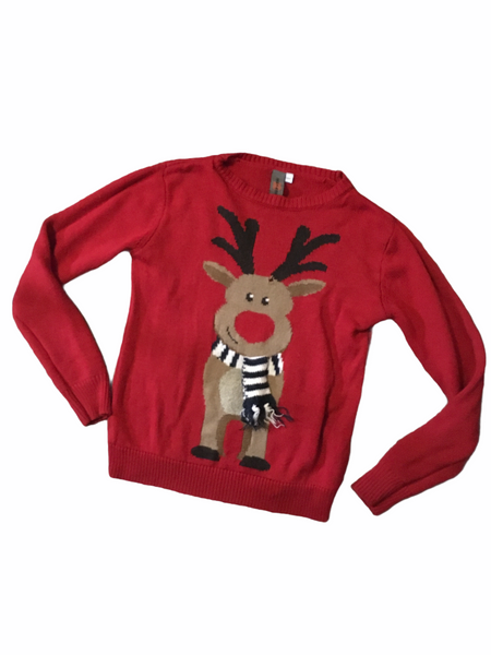 Urban Outlaws Boys Red Knitted Christmas Reindeer Jumper - Boys 9-10yrs