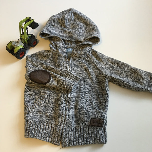 Baby Gap Boys Grey & White Knitted Hoodie Cardigan with Zip front and elbow patches - Boys 12-18m