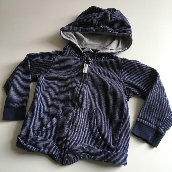 M&Co Boys Navy Striped Zip Up Hoodie - Boys 18-24m