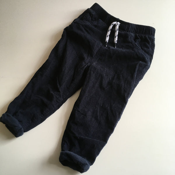Tu Boys Dark Navy Blue Brushed Cord Trousers with Stretch Waist - Boys 18-24m