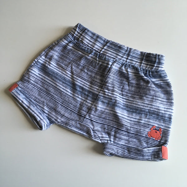 Mothercare Blue Stripe Stretch Shorts with Crab Motif - Boys 1-3m