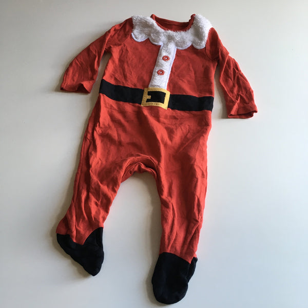 F&F Red Santa Christmas Sleepsuit - Unisex 3-6m
