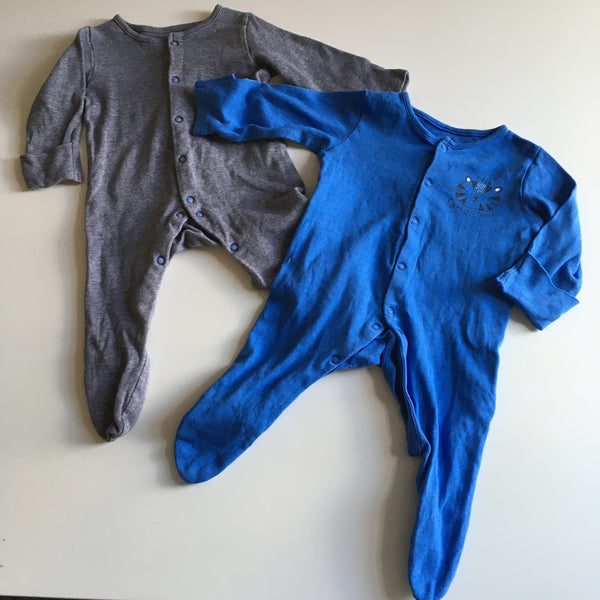 Bundle of 2 Boys Mothercare Sleepsuits Blue Tiger / Brown - Boys 1-3m