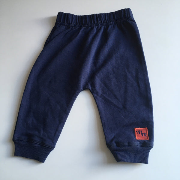 Navy Blue Stretch Joggers with Mickey Mouse Leg Motif - Boys 3-6m