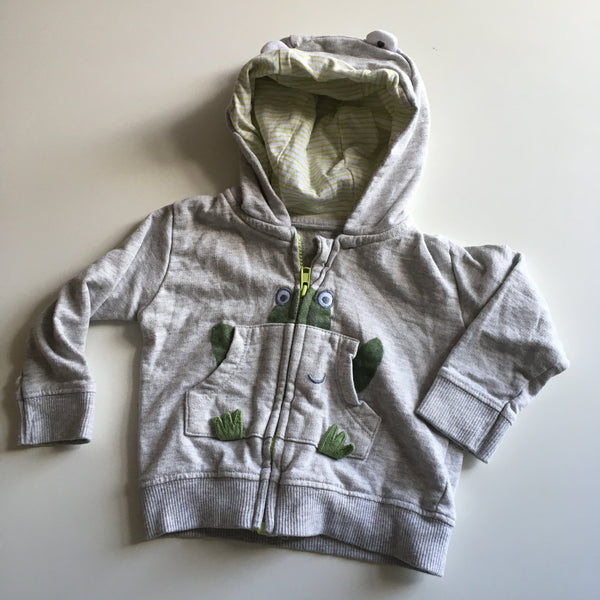 Mothercare Grey Hoodie Jumper with Frog Design - Boys 1-3m