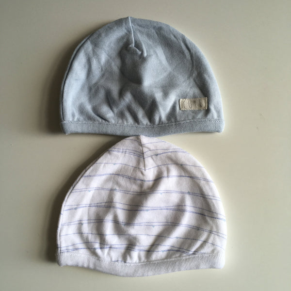 Mothercare Blue/White 2 Baby Hat Bundle - Boys 1-3m