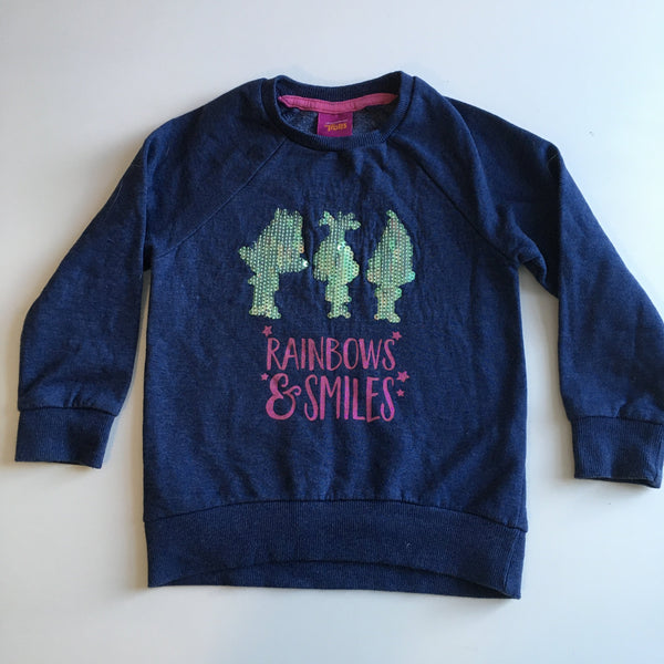 Dreamworks Trolls Girls Blue Rainbows & Smiles Sequin Jumper - Girls 3-4yrs