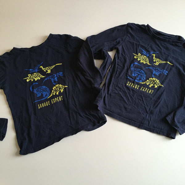 Bundle of 2 Navy Blue Boys Dinosaur Print L/S Tops - Twin Boys 6-7yrs