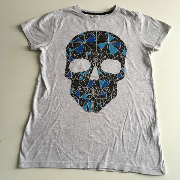 Primark Boys Grey T-Shirt with Blue Skull Motif - Boys 12-13yrs