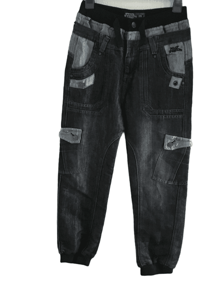 No Fear Boys Dark Indigo Blue Black Utility Jeans with Elasticated Waist - Boys 13yrs