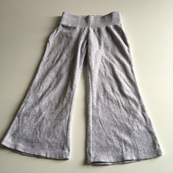 Matalan Girls Grey Cotton Towelling Trousers with Stretch Waist - Girls 3yrs