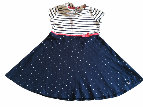 Junior J by Jasper Conran Navy Breton Nautical Stripe and Polka Dot S/S Skater Dress - Girls 4-5yrs
