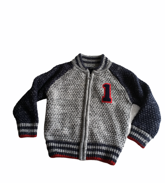 George Boys Grey/Blue Thick Knitted Zip Up Jacket - Boys 18-24m