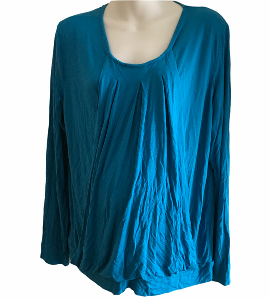 Jojo Maman Bebe Aqua Blue L/S Nursing Top - Size Maternity L UK 16-18