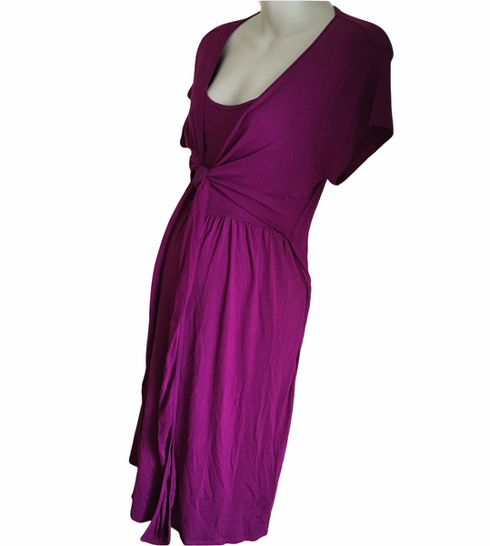Jojo Maman Bebe Magenta Pink S/S Wrap Nursing Dress - Size Maternity L UK 16-18