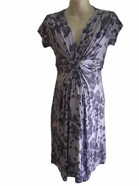 Seraphine Lavender Blossom Knot Front S/S Maternity Dress - Size Maternity UK 8