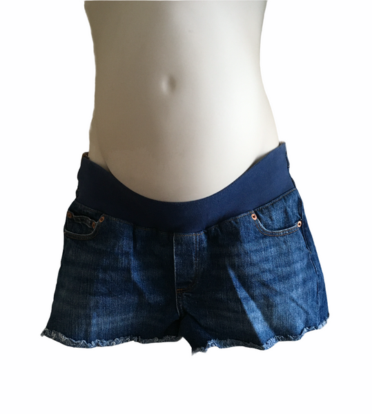 Asos Maternity Blue Denim Under Bump Hotpants Shorts - Size Maternity UK 10