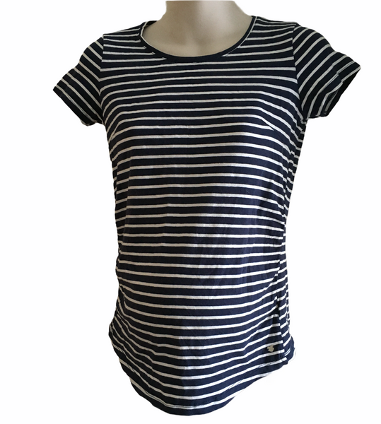 Esmara Navy/White S/S Top - Size Maternity UK 12/14