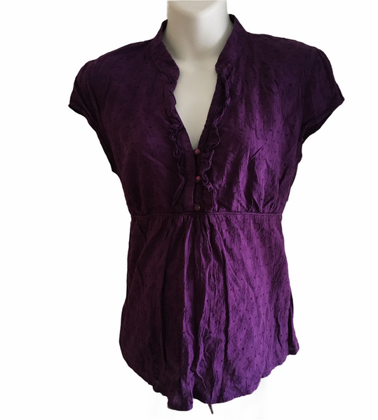 Red Herring Maternity Purple Cotton S/S Blouse - Size Maternity UK 14