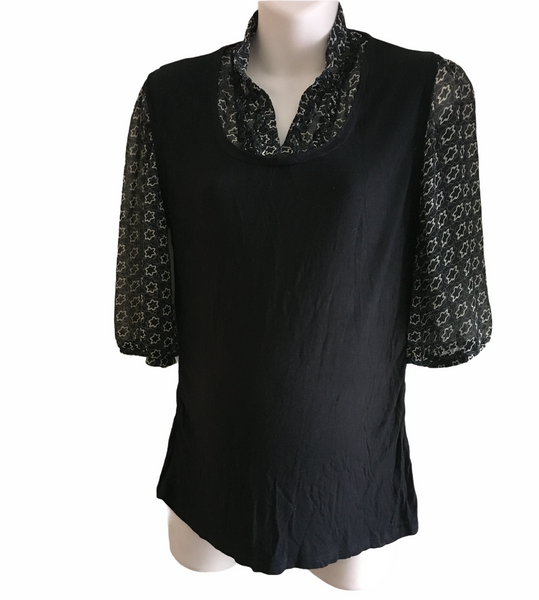 Evie Maternity Black Smart Work Blouse Top - Size Maternity UK 14/16