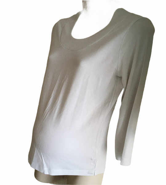 Next Maternity White 3/4 Sleeve Scoop Neck Top - Size Maternity UK 10