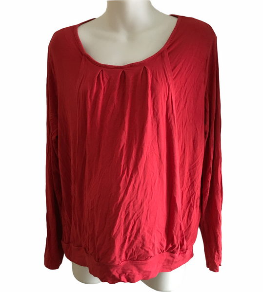 Jojo Maman Bebe Red L/S Nursing Top - Size Maternity L UK 16-18