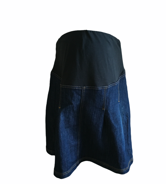 Jojo Maman Bebe Dark Indigo Blue Denim Over Bump Skirt - Size Maternity UK 14