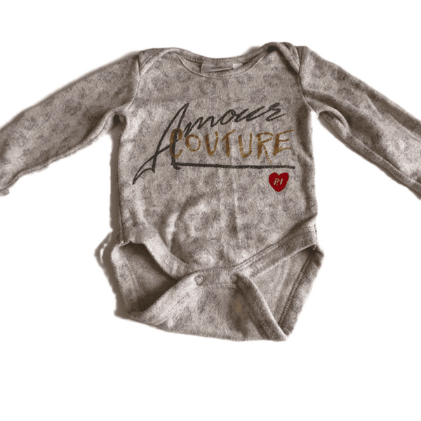 Grey 'Amore Couture' L/S Bodysuit - Girls 0-3m