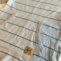 Fresh Vibes Grey Blue Striped L/S Top with front pocket - Boys 4-5yrs