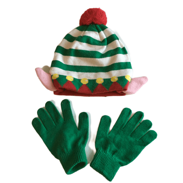 Christmas Elf Unisex Bobble Hat with Ears and Green Gloves Set - Unisex One Size