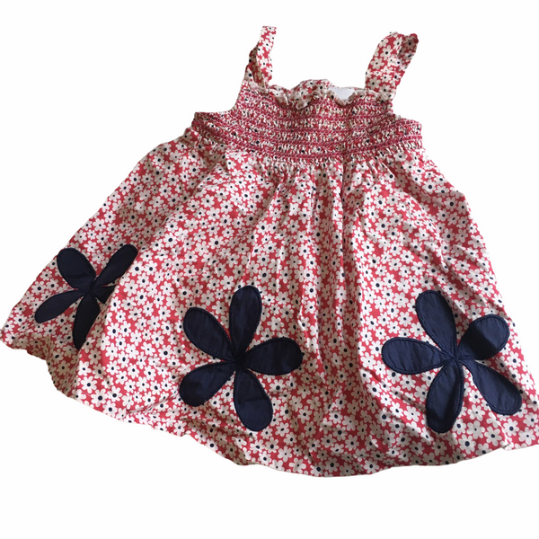 Bluezoo Red White and Blue Cotton Sun Dress - Girls 3-6m