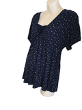 Blooming Marvellous Navy Blue and White Heart Stretch Nursing Top - Size Maternity UK 16