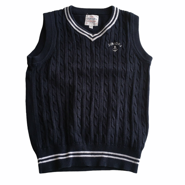 Junior J by Jasper Conran Boys Navy Blue/White Nautical Knitted Sailor Boy Tank Top Jumper - Boys 5-6yrs