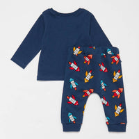 Brand New Bluezoo Baby Boys' Blue Space Rocket Top and Jogging Bottoms Set - Boys 3-6m