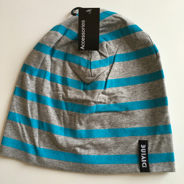 Brand New Soft Jersey Grey and Blue Stripe Beanie Hat - Older Boys / Teen Boys