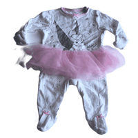 Tinkerbell Disney Baby White Sleepsuit with Pink Tutu - Girls 0-3