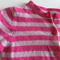 M&S Girls Candy Pink Striped 100% Cashmere Wool Cardigan - Girls 2-3yrs