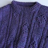 Superb Hand Knitted Girls Purple Thick Winter Jumper - Girls 6-7yrs