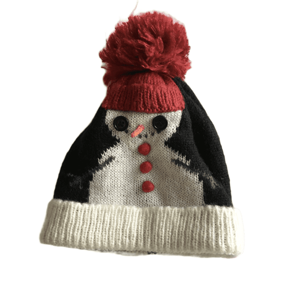 Snowman Festive Knitted Christmas Bobble Hat - Unisex One Size