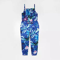 Brand New Bluezoo Girls Blue Floral Print Jumpsuit - Girls 10yrs