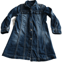 Denim Blue Jeans Button Front Dress - Girls 5yrs