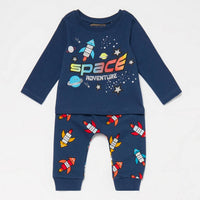 Bluezoo Baby Boys' Blue Space Rocket Top and Jogging Bottoms Set